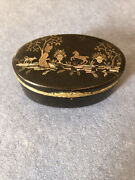 Antique Laquer Box With Gold And Silver Pique Work Decoration Circa 1875