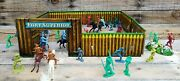 Vintage Fort Superior Playset, Western Cowboys And Indians Toys By T. Cohn Inc.