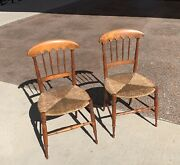 19th Century Maple Chairs With Rush Seats Pair