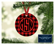 Set Of 4 Monogram Initials Metal Christmas Ornaments Personalized Red Buffalo D7