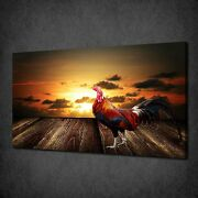 Brown Leghorn Rooster Sunset Canvas Wall Art Print Picture Ready To Hang