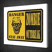 Danger Zombie Outbreak Sign Funky Canvas Wall Art Picture Print Ready To Hang