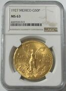 1927 Gold Mexico 50 Pesos Winged Victory Coin Ngc Mint State 63 Early Date