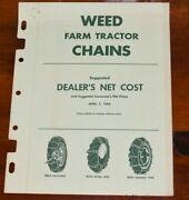 1962 Weed Farmer Tractor Chains Dealer Price List Brochure Catalog Vintage Tire