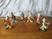 Lot Of 6 Fontanini Hard Resin Musician Clown Figurines Made In Italy