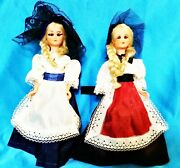 Set Of Two - Beautiful Girl Blue Black Dress Traditional Clothes Plastic Dolls