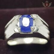 1.85 Ct Aaa Natural Velvet Blue Sapphire Sterling Silver Mens Ring Size 7-13