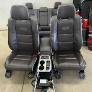 14-19 Jeep Grand Cherokee Overland Seat Set + Console Oem Black Leather 2143118