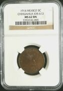 1914 Copper Mexico 5 Centavos Ngc Mint State 62 Brown Constitutional Army