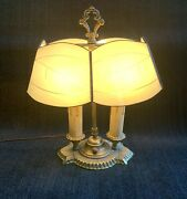 Antique Brass Desk Lamp Etched Glass Shade Office Study