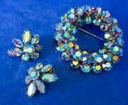 Sherman Metallic Blue Ab Round Pin Brooch And Pair Of Clip Earrings 1960s Signed