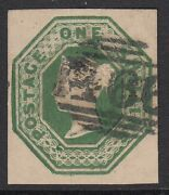 Sg 55 1/- Deep Green. Very Fine Used Numeral Cancel. 4 Fine Margins Cat Andpound1200