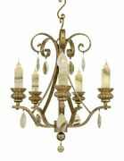 18 Anzivino 5 Light Chandelier Small W/ Wooden Carved Bobeches And Standard Onyx