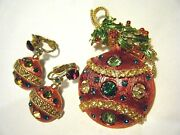 Weiss Vintage 1960s Red Christmas Ornament Set Pin And Earrings