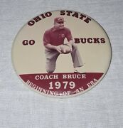 1979 Ohio State Buckeyes Football Coach Earle Bruce Photo Pin Pinback
