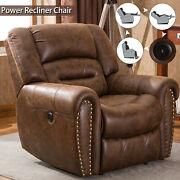 Power Recliner Chair With Usb Port Breathable Bonded Leather Home Theater Sofas