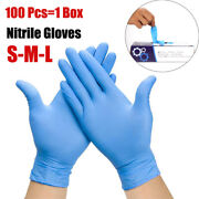 100pcs Nitrile Hand Gloves Blue Durable Rubber Cleaning Powder Latex Free 4mil
