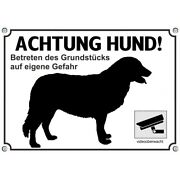 Dog Sign With The Atlas Berghund Or Adi - Metal Sign Attention Dog