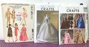 Vtg Uncut/oop Mccall's Crafts Sewing Patterns For 11 1/2 Dolls Barbie/maxie