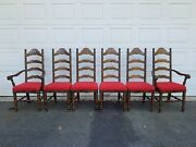 Vintage Set 6 Antique Ladderback Upholstered Dining Chairs - 2 With Arms