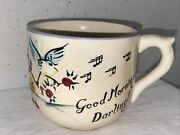 Vintage 1957 Lefton Coffee Cup/muggood Morning Darling/grouch Owl And Bird C