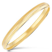 Vintage Handmade Dubai Unisex Vein Slip-on Bangle Bracelet In 916 Solid 22k Gold