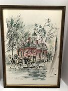 John Haymson Signed Water Color Lithograph Colonial Courthouse Williamsburg