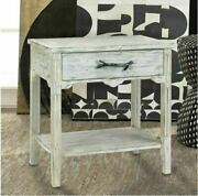 Distressed Wood End Table Country Garden Patio Porch Furniture Rustic Antique
