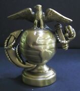 Usmc Marine Corps Insignia Paperweight Statue Antique Brass Made In The Usa