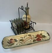 Certified Intandrsquol Pamela Gladding Toscana Oil Bottle W/4 Plates And Bread Plate