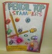 Vintage Vending Gumball Machine 8 Pencil Top Stampers 25 Cent Prize/toys