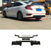 Rear Bumper Spoiler Canards 4-outlet Pipe For Honda Civic 10th 16-2020 Black Abs