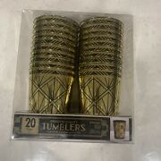 Amscan Art Deco Flapper New Years Eve Plastic Party 295ml Tumblers Glasses Gold