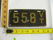 1916 16 Vermont Vt Motorcycle Mc License Plate 558 First Issue Rare