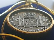Authentic Shipwreck 1782 Spanish Silver Reale 18 18kgf Gold Filled Box Chain.