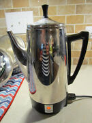 Vintage Presto Stainless Steel 12 Cup Percolator Electric Coffee Pot Model 02811