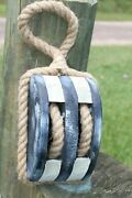 Vintage Style Commercial Fishing Boat Rope Pulley, Coastal Colors, Wp-1