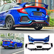 For Honda Civic Type-r 2016-2020 Outer Rear Bumper Diffuser Board Guard Abs Blue