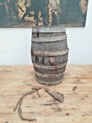Antique Wine Barrel Cask Very Old 40's Wood Handcrafted 18 Cast Iron Corkscrew