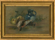 Late 19th Century Oil - Still Life With Game, Fruit And Blue Lustre Jug