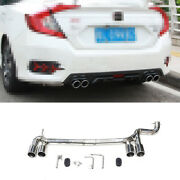 4-outlet Exhaust Muffler Tip Tail Pipe For Honda Civic 16-2020 Chrome Steel 1.0t