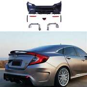 Fit For Civic 1.5t Ms 2016-2020 Rear Bumper Lip Bodykit 2-outlet Pipe Unpainted