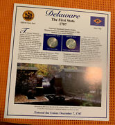1999 Delaware State Quarters /stamps Panel By Postal Commemorative Society