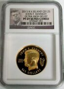 2013 Gold British Virgin Is 500 Minted 1oz Jfk Ultra High Relief Ngc Proof 69 Uc