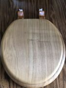 Solid Wood Toilet Seat Light Brown Finish