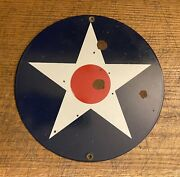 """Usaac Roundel United States Army Air Corps Porcelain Door Sign 8 3/8"""" Round Rare"""