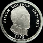 1973 Silver Panama 20 Balboas Proof 3.85 Oz Coin Box And Papers