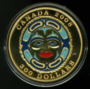 Canada 2008 300 Four Seasons Moon Mask Proof 14k Gold Coin W/box And Coa