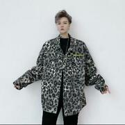 Menand039s New Youth Fashion Leopard Print Loose Denim Jeans Jacket Coat Outwear Moon
