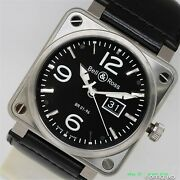 Bell And Ross Br01-96 Big Date Br01-96b-ca Automatic Black Dial Leather Menand039s